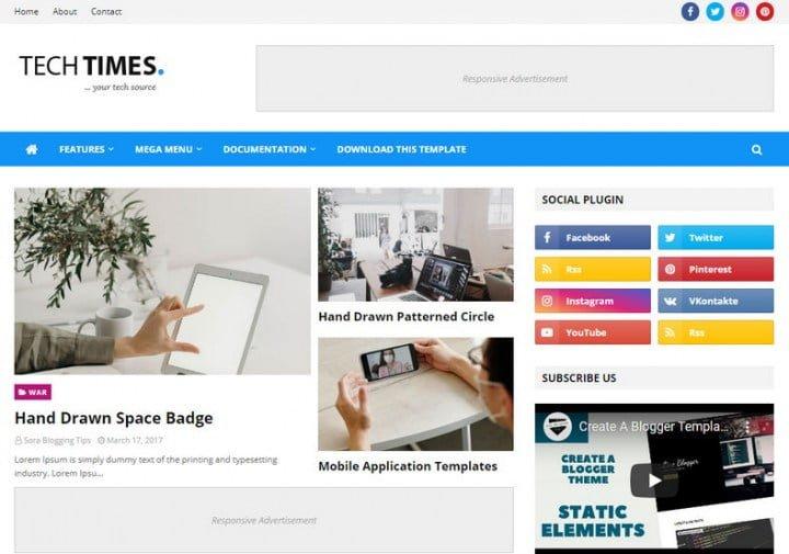 TechTimes Blogger Template giao diện Blogspot chuẩn seo