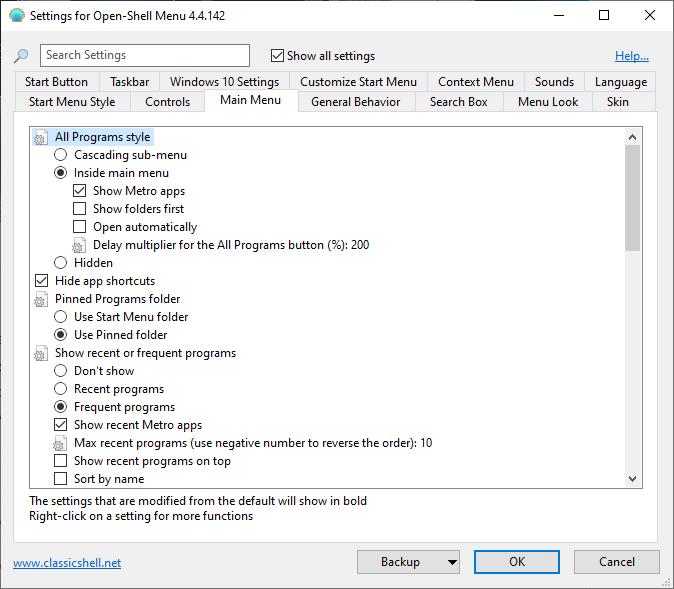 tao menu start voi open shell tren windows 10 2