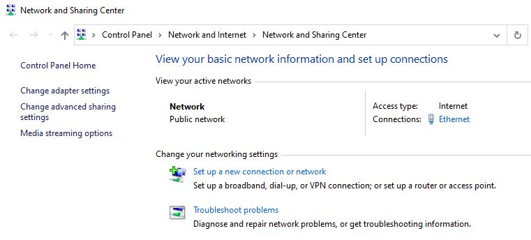 Network and Sharing Center không hoạt động trên Windows 10