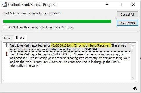 Sửa lỗi 0x8004102A khi gửi và nhận mail trên Outlook