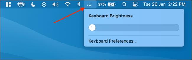 Ghim Keyboard Brightness len Menu Bar