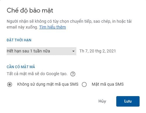 dat ngay het han cho email gmail 3