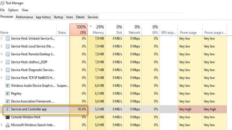 Services and Controller app dùng nhiều CPU trên Windows 10
