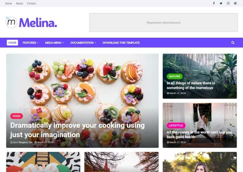 Melina Blogger Template Giao dien blogger thoi trang 1