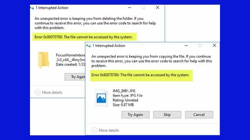 Sửa lỗi Error 0x80070780: The file cannot be accessed by the system