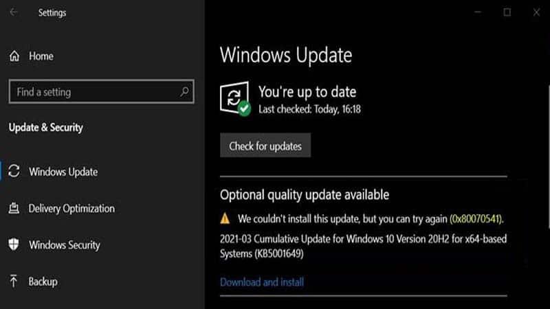 Sửa lỗi Windows Update báo lỗi 0x80070541 trên Windows 10