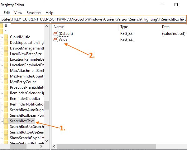 thay doi van ban trong hop search trong windows 10 1