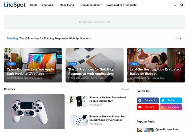 LiteSpot Template giao diện Blogspot tin tức công nghệ chuẩn seo