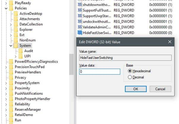 Switch User bi an khoi man hinh dang nhap windows 10 3