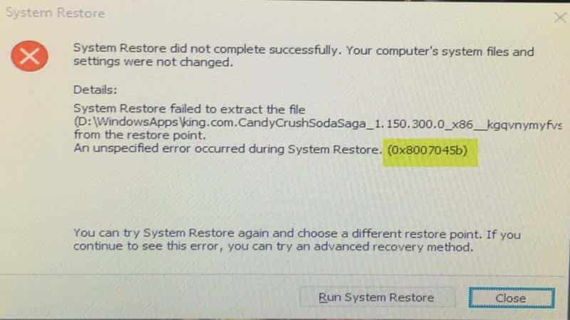 Sửa lỗi System Restore error 0x8007045b trên Windows 10