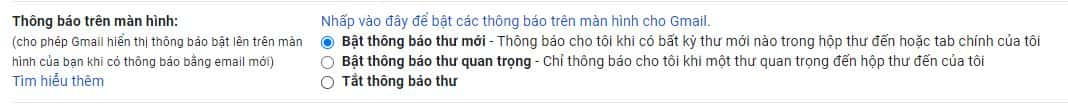 bat thong bao gmail tren man hinh windows 10 1