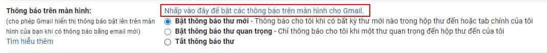 bat thong bao gmail tren man hinh windows 10 2