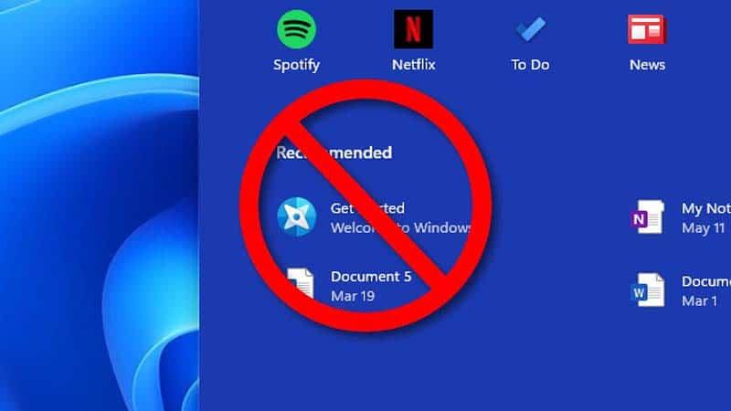 Cách ẩn files và thư mục gần đây trong Start Menu Windows 11