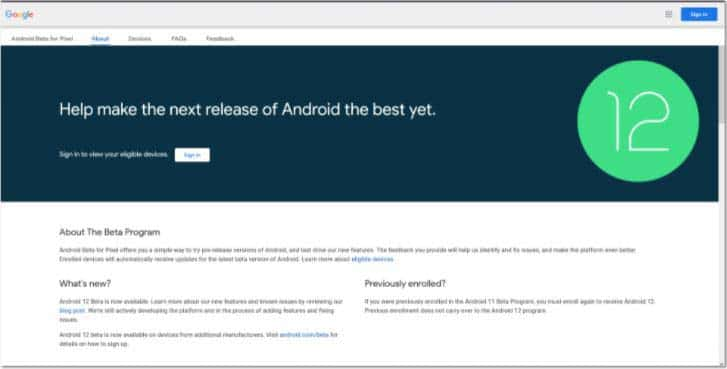 cach cai dat Android 12 Public Beta 2