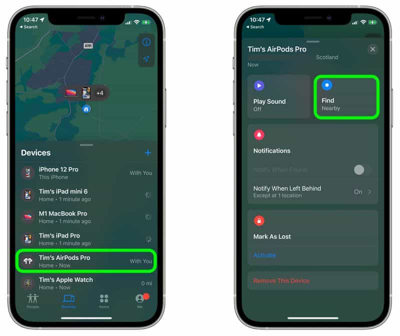 cach tim airpods pro bang find my network tren ios 15 2